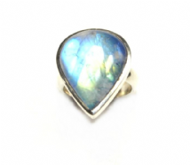 Teardrop Rainbow Moonstone Ring Silver Large  'One-Off' size P